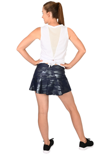 Navy Camo Foil Tennis Skirt