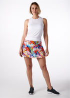 Splatter Paint Tennis Skirt with Blue Shorts