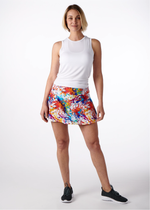 Load image into Gallery viewer, Splatter Paint Tennis Skirt with Blue Shorts
