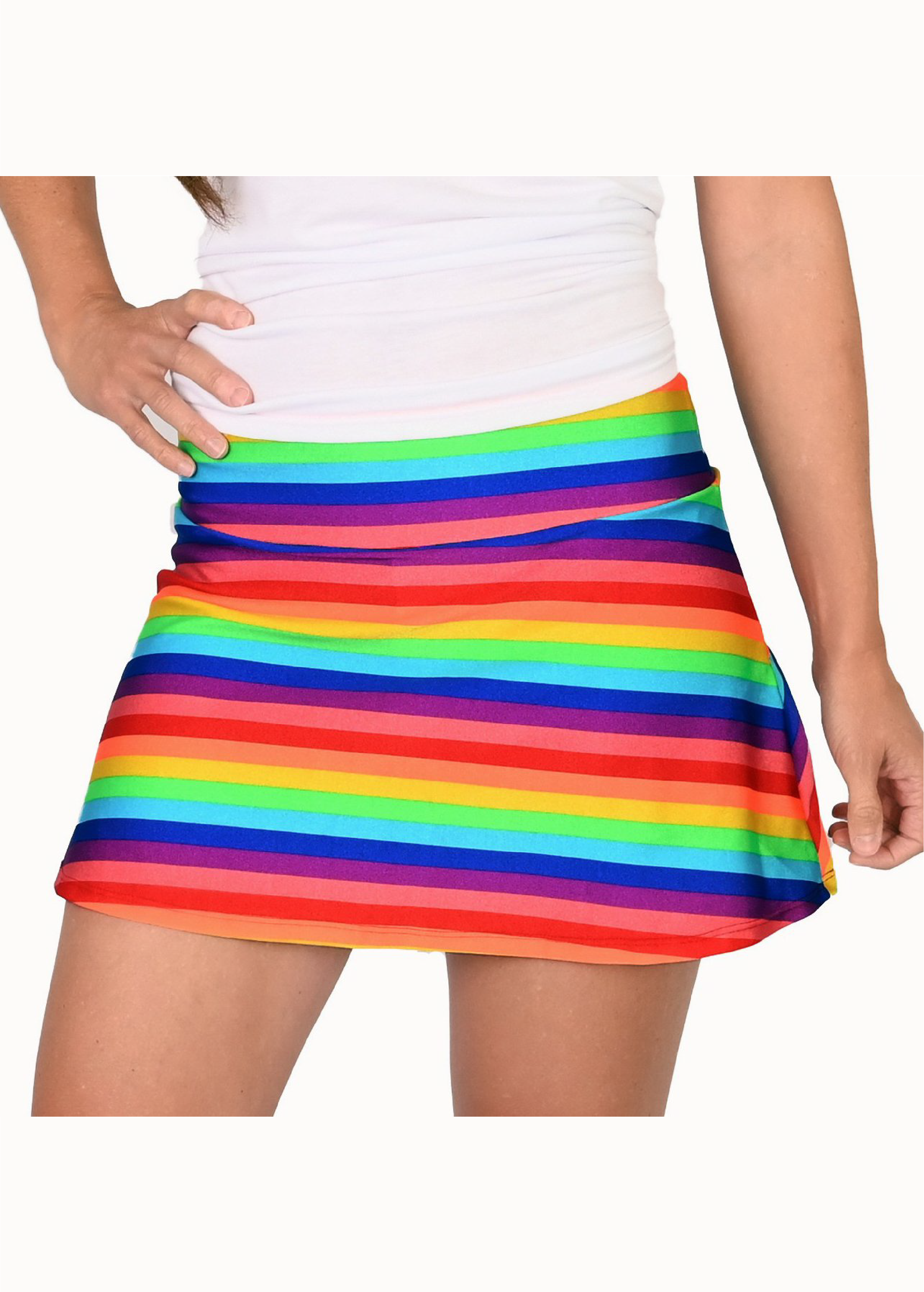 Rainbow Love is Everything Tennis Skirt with Blue Shorts