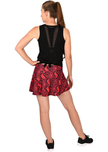 Red and Black Snakeskin Print Tennis Skirt Black Shorts