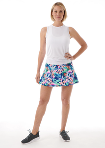 Royal Blue Tropical Floral Tennis Skirt