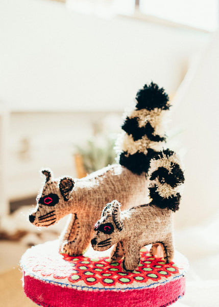 Handmade Natural Wool Raccoons