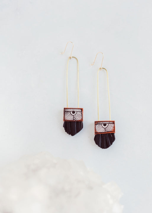 Regalo Long Leather and Terra Cotta Earrings | Black