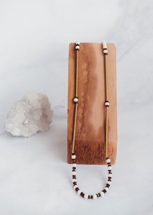 White Wood, Brass & Smoky Quartz Necklace