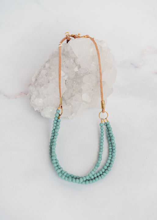 Turquoise Glass Triple Strand Suede Necklace