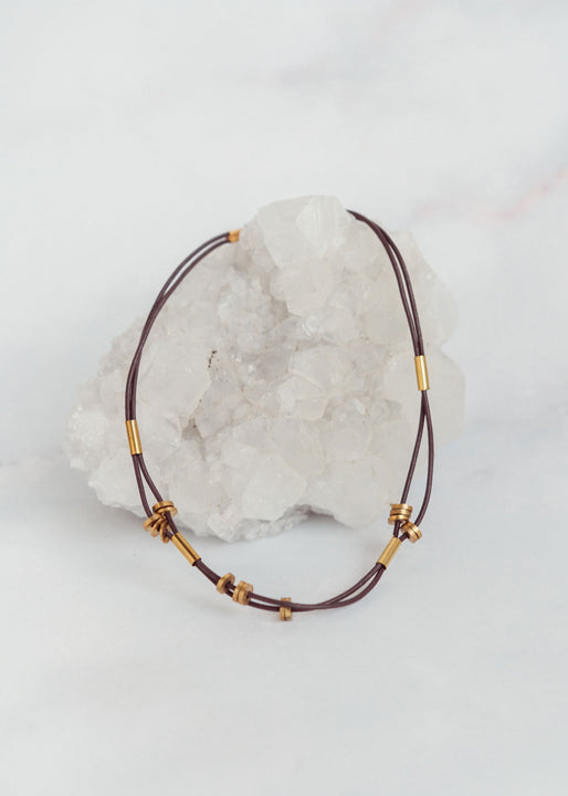 Brown Leather Cord & Brass Tube Choker