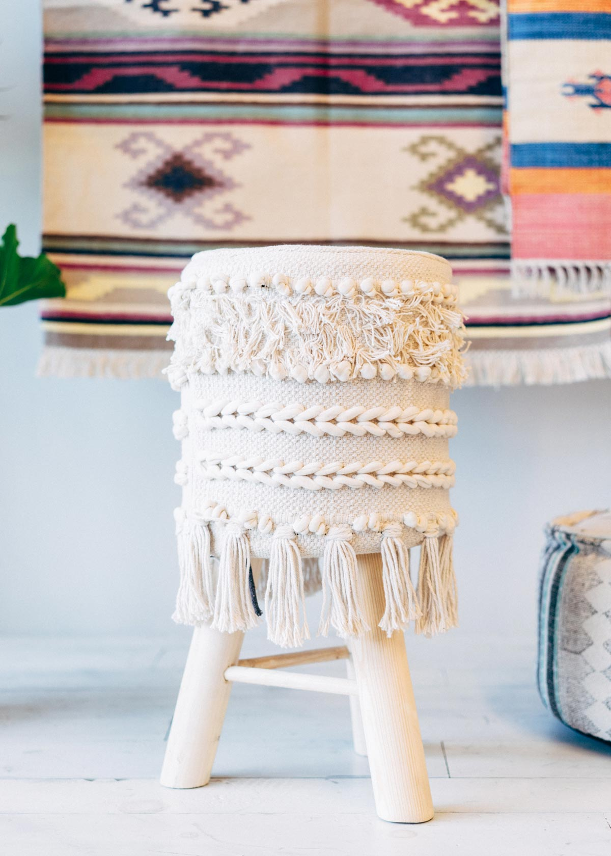 Stool with Cotton Tassels