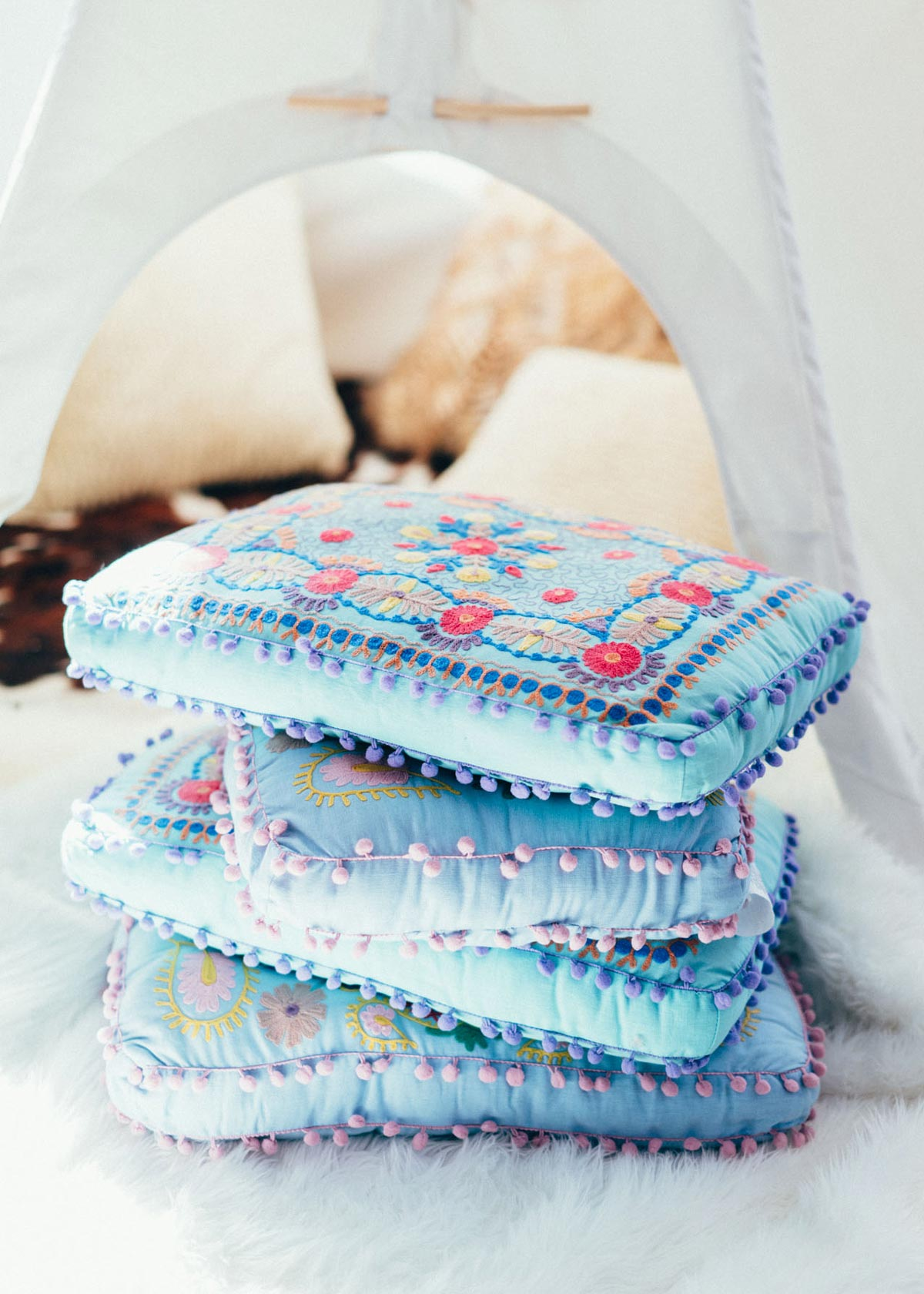 Colorful Embroidered Cushions