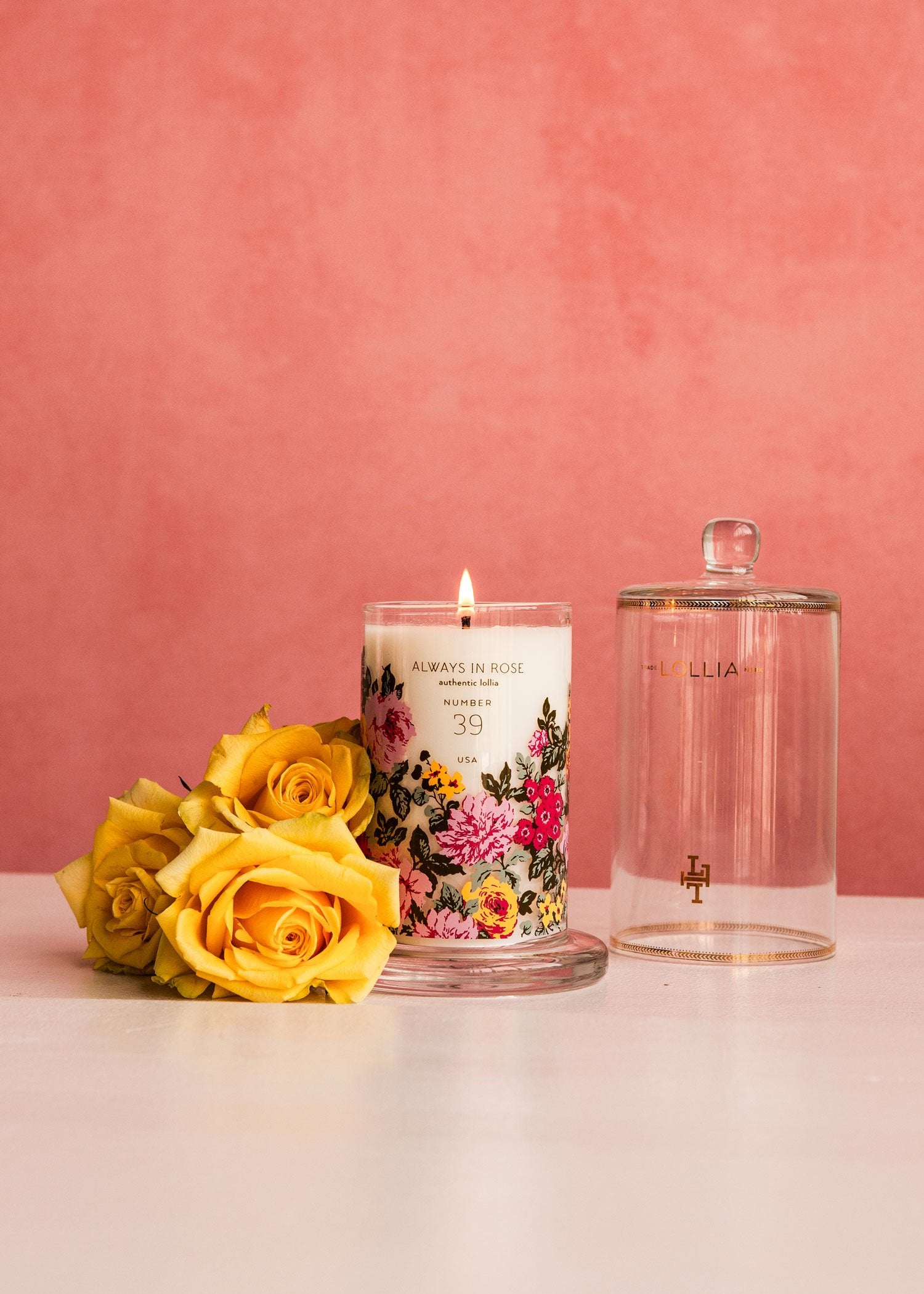 Always in Rose Glass Candle with Cloche