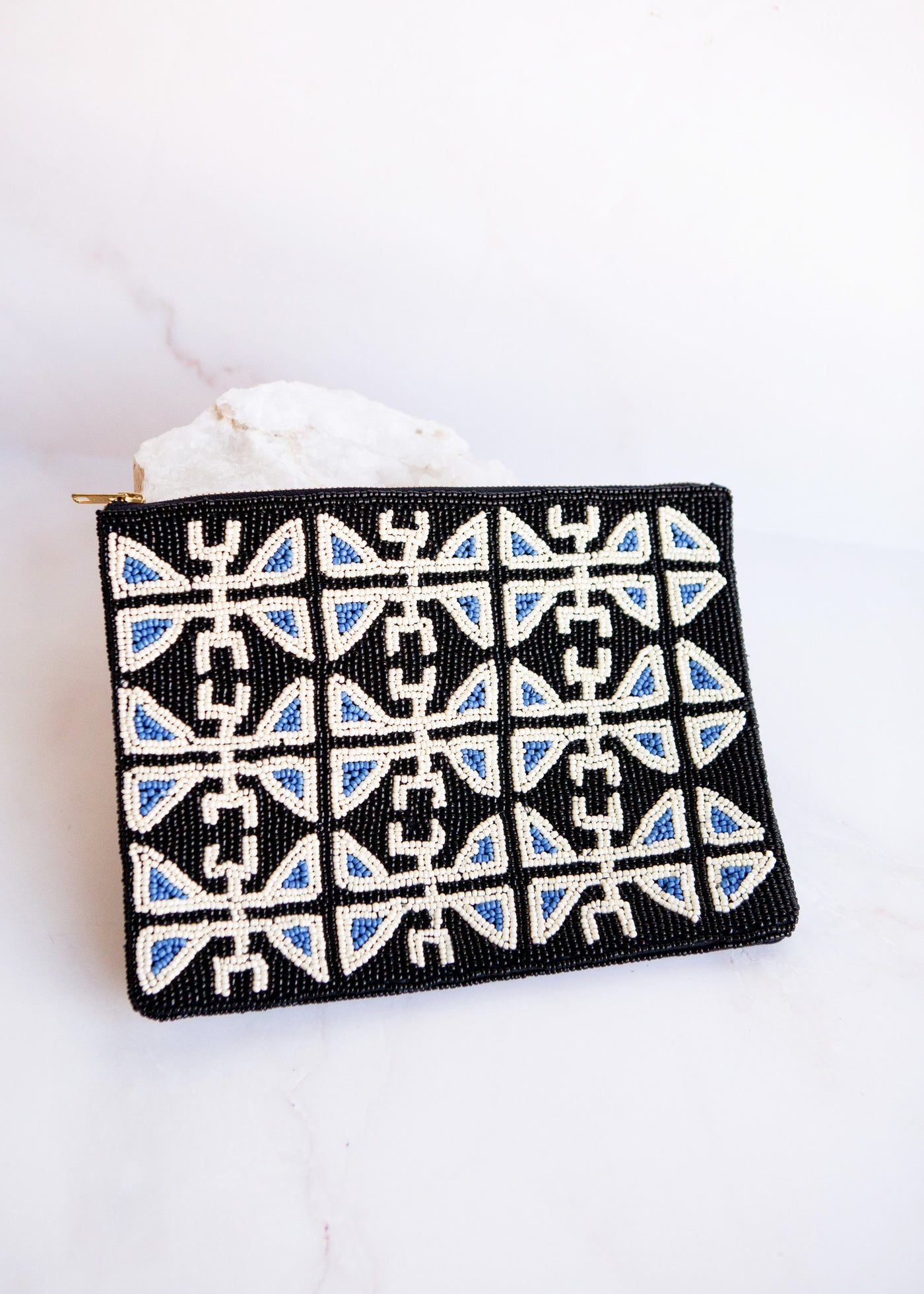 Blue & Black Beaded Clutch