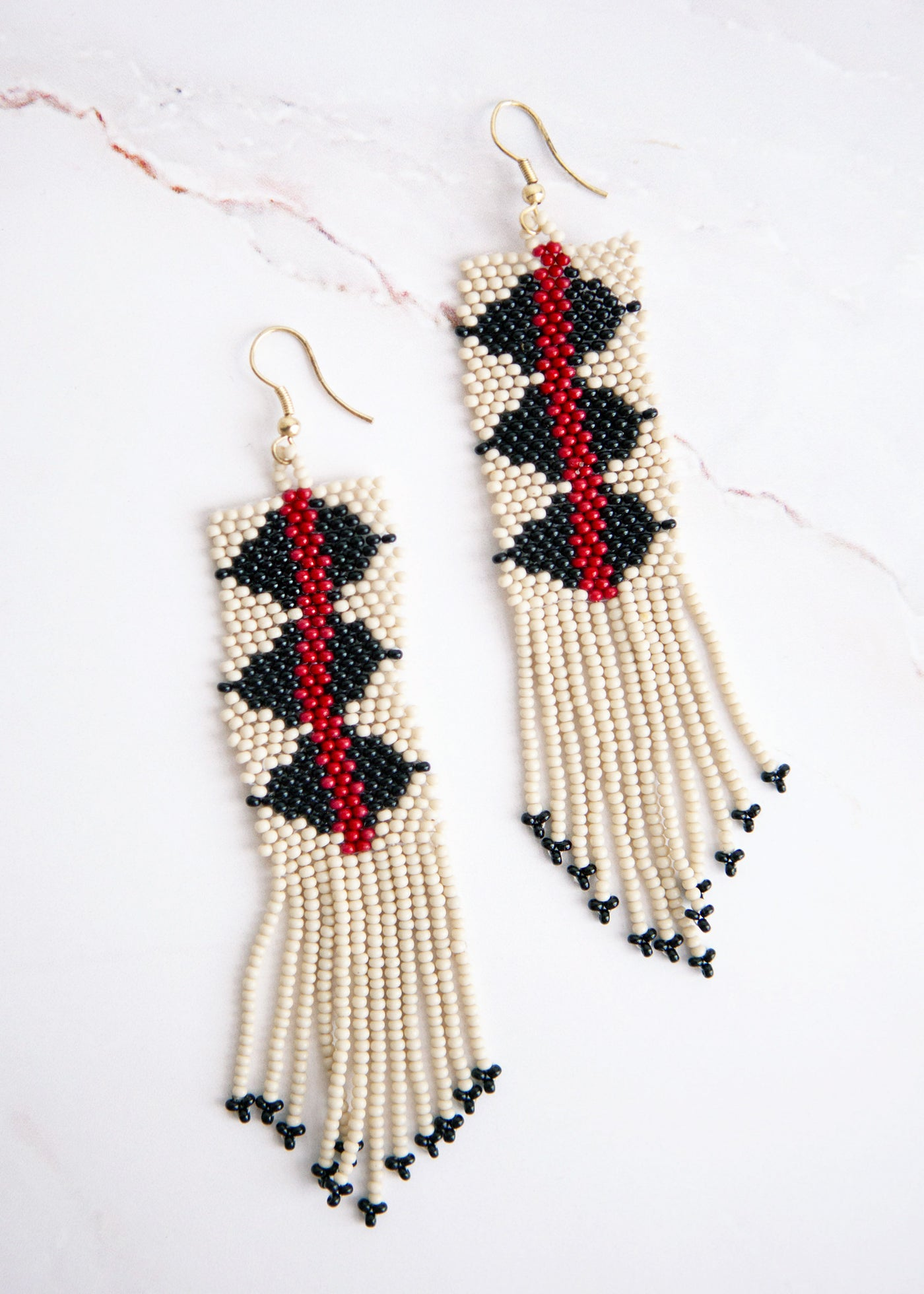 Black and white Triangle earrings