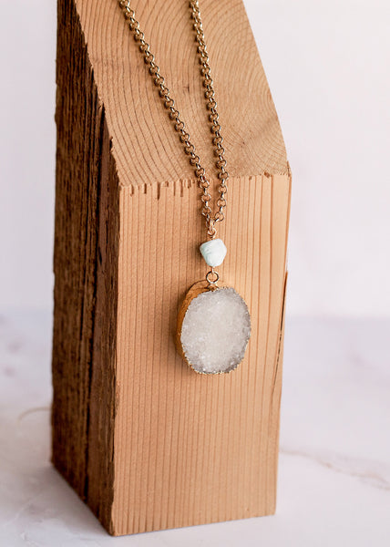 Coachella Necklace with White Druzy