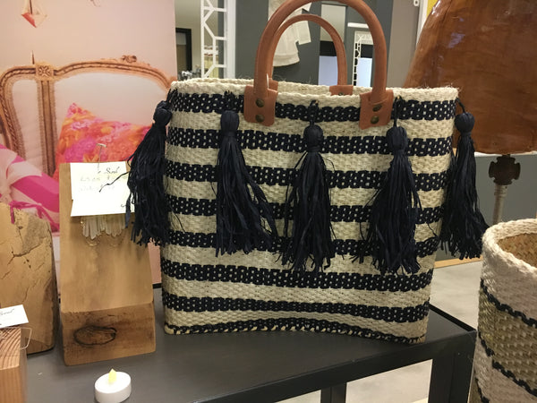 Sahara Stripped Basket Tassel tote in Navy