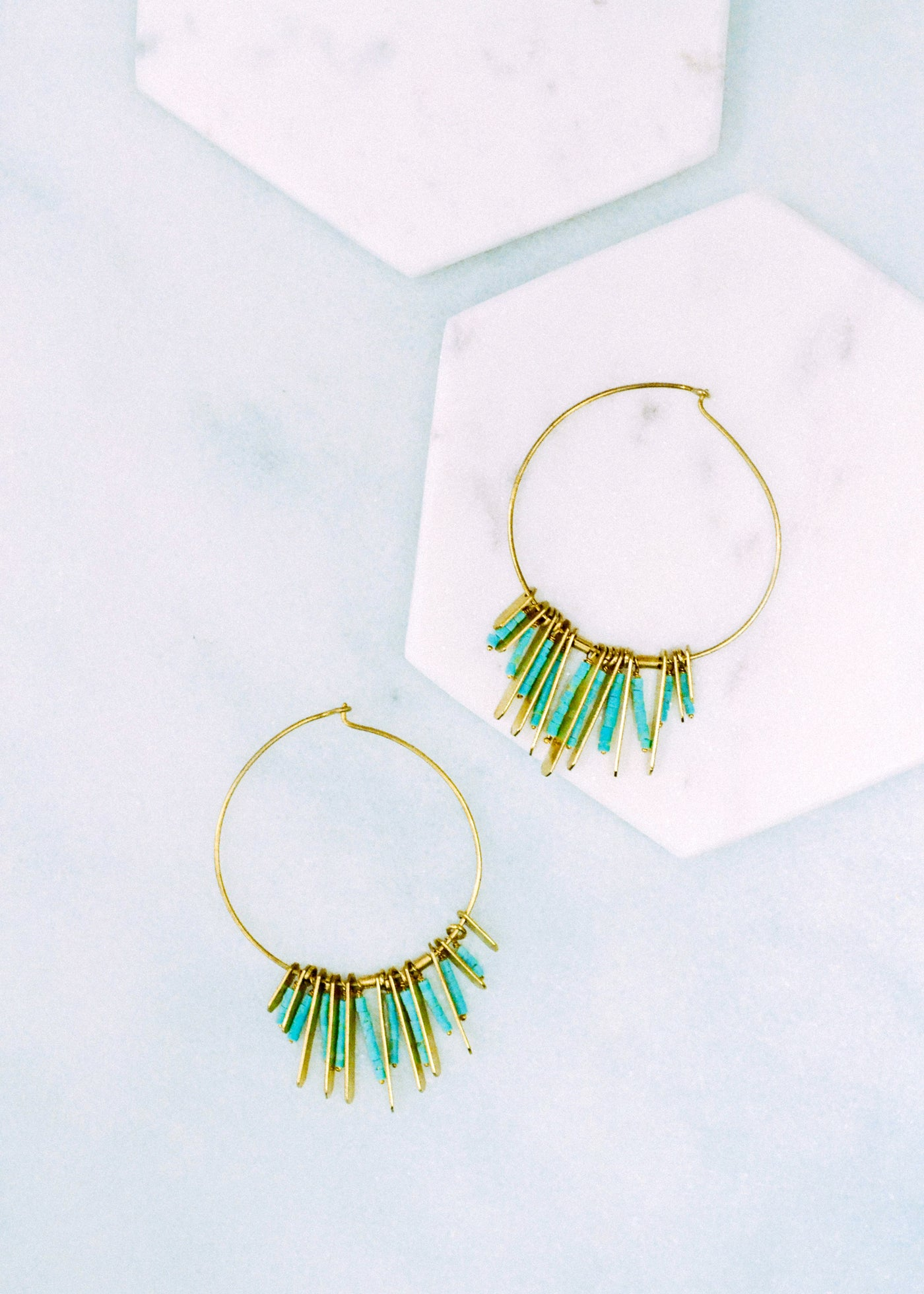 Turquoise & Brass Hoop Earrings Margot Elena