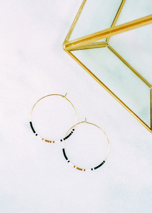 Delicate Bead Hoop Earrings Margot Elena