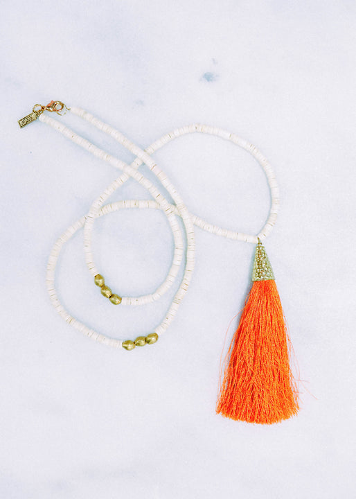 Coral Tassel Necklace with Coconut Beads & African Brass
