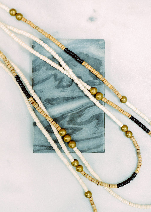 Long Triple Strand White, Natural & Black Coconut Necklace Margot Elena