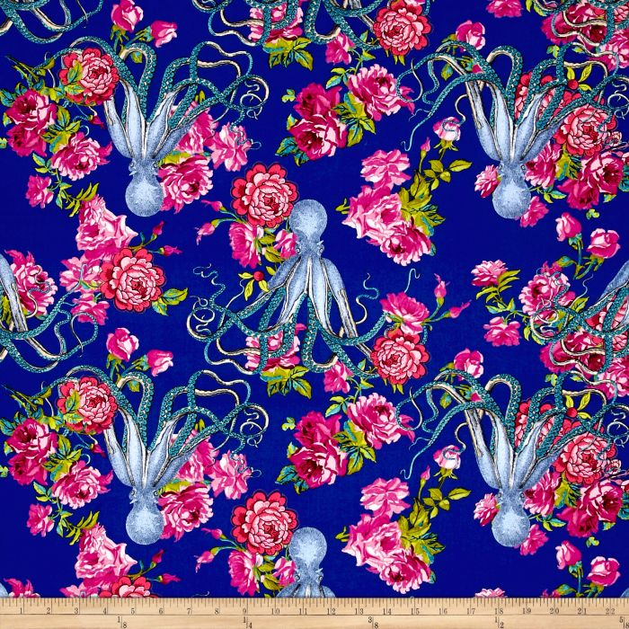 Neptune & The Mermaid Fabric | Neptune's Neverland | Navy
