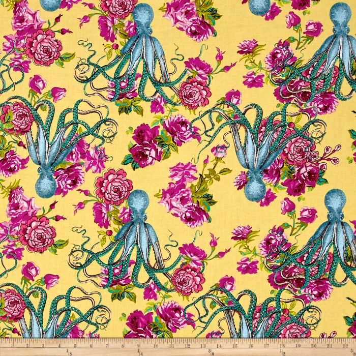 Neptune & The Mermaid Fabric | Neptune's Neverland | Yellow
