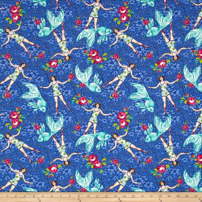 Neptune & The Mermaid Fabric | What Would Poseidon Say? | Blue