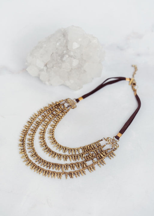 Indra Bib Necklace Brass