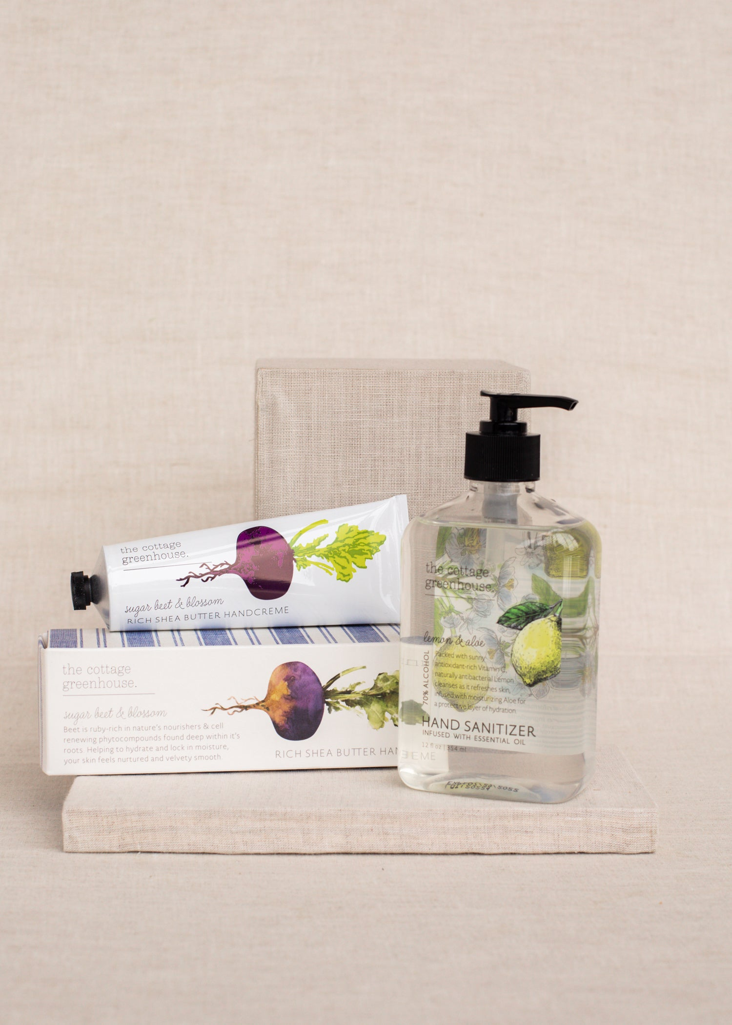 Lemon & Aloe Hand Sanitizer + Sugar Beet & Blossom Handcreme Duo