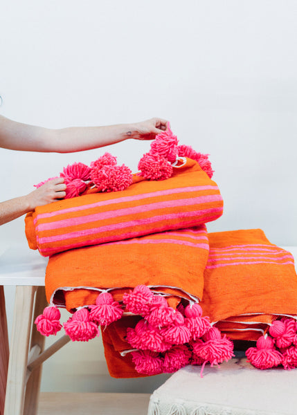 Pink/Orange Large Wool Blanket | Pink Pom Pom