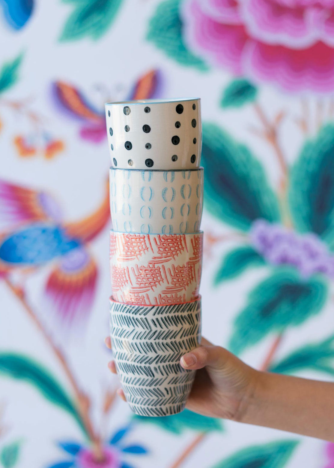 Hand-stamped Stoneware Tumblers