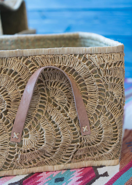 Natural Raffia Square Baskets