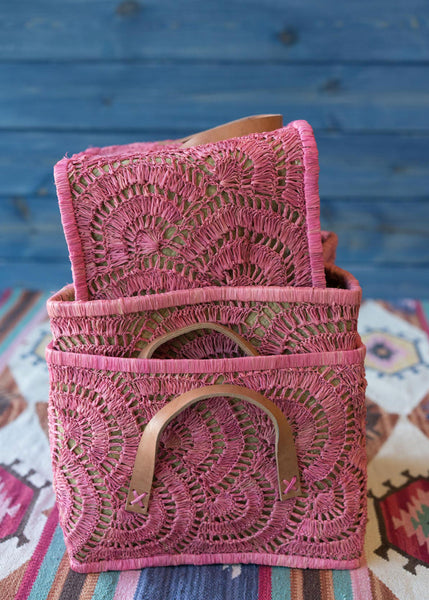 Pink Raffia Square Baskets