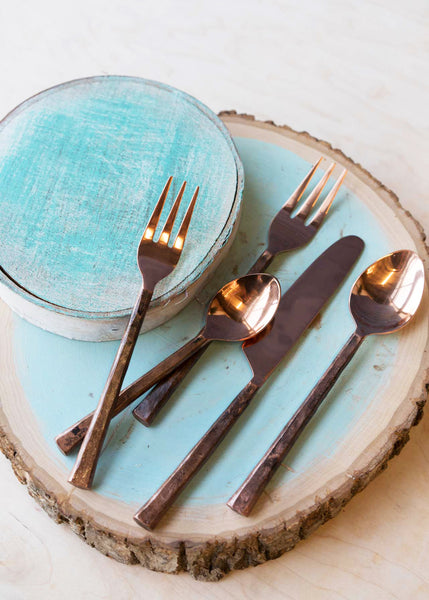 Copper Finish Place Setting | Hand Forged Stainless Steel | Set of 5