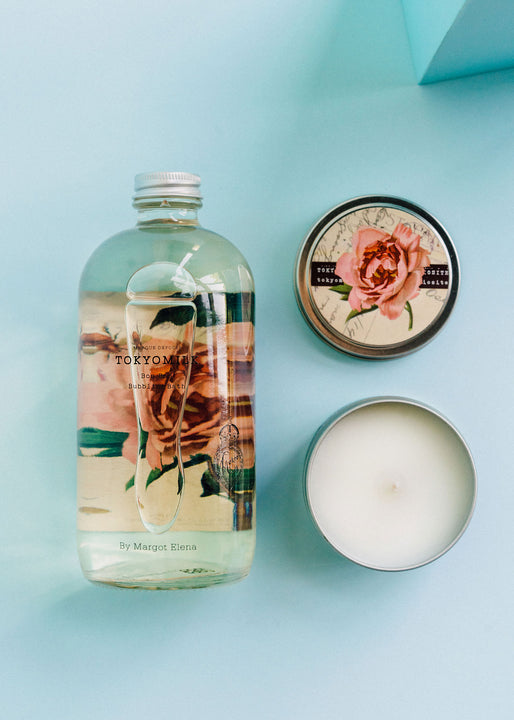 Rose Bubble Bath & Candle Gift Duo