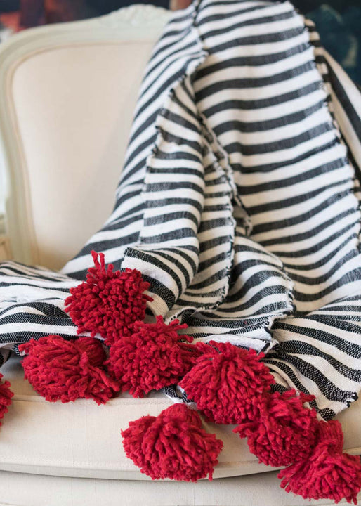 Large Cotton Stripe Blanket | Red Pom Pom