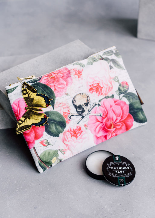 Skull with Roses Cosmetic Bag & Pretty Rotten Lip Elixir Gift Duo