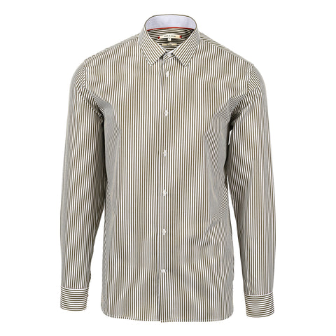 Moods of Norway, Stripe Vik classic fit shirt Cypress 171262-352, front view.