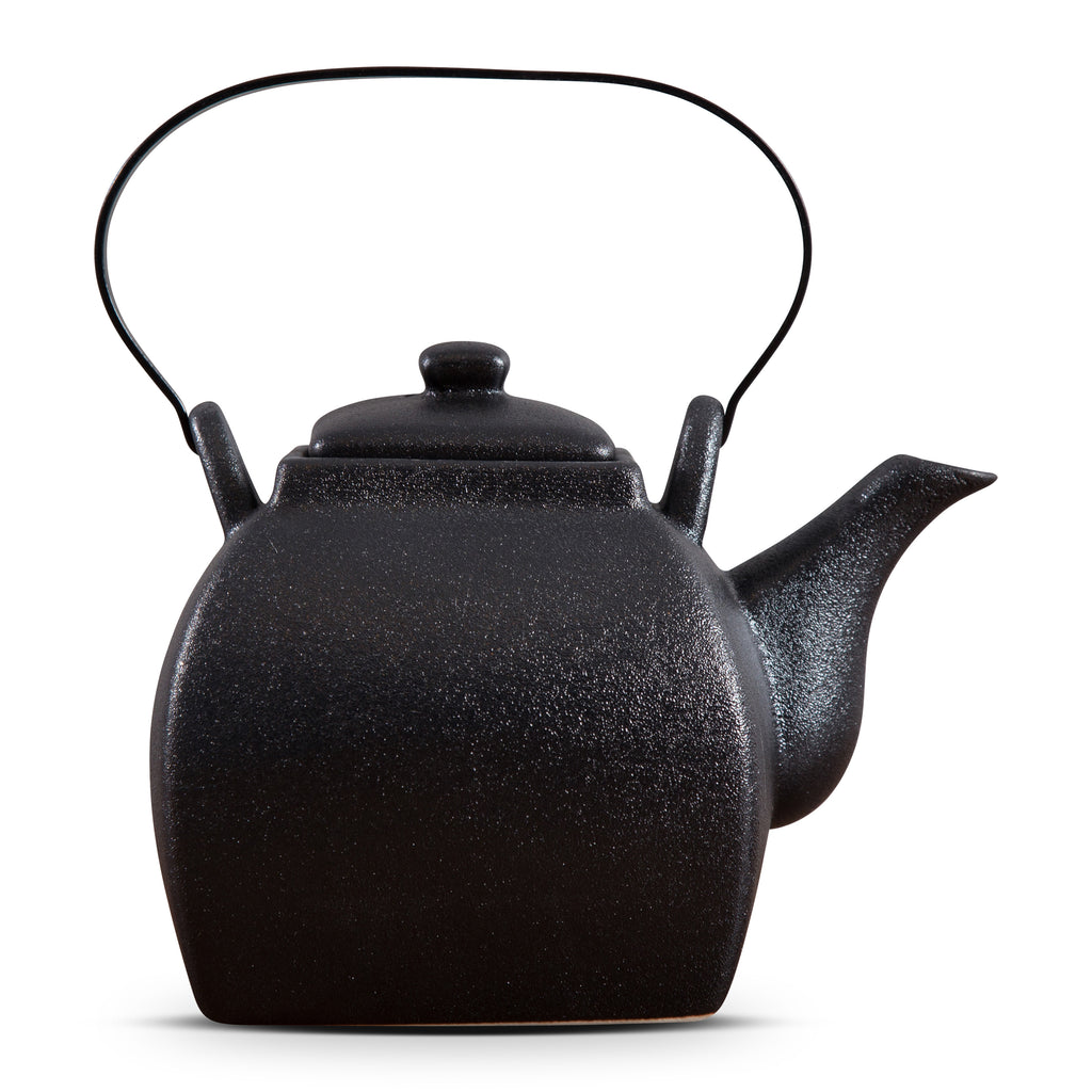 TEA POT WITH IRON HANDLE - ROUGH BLACK