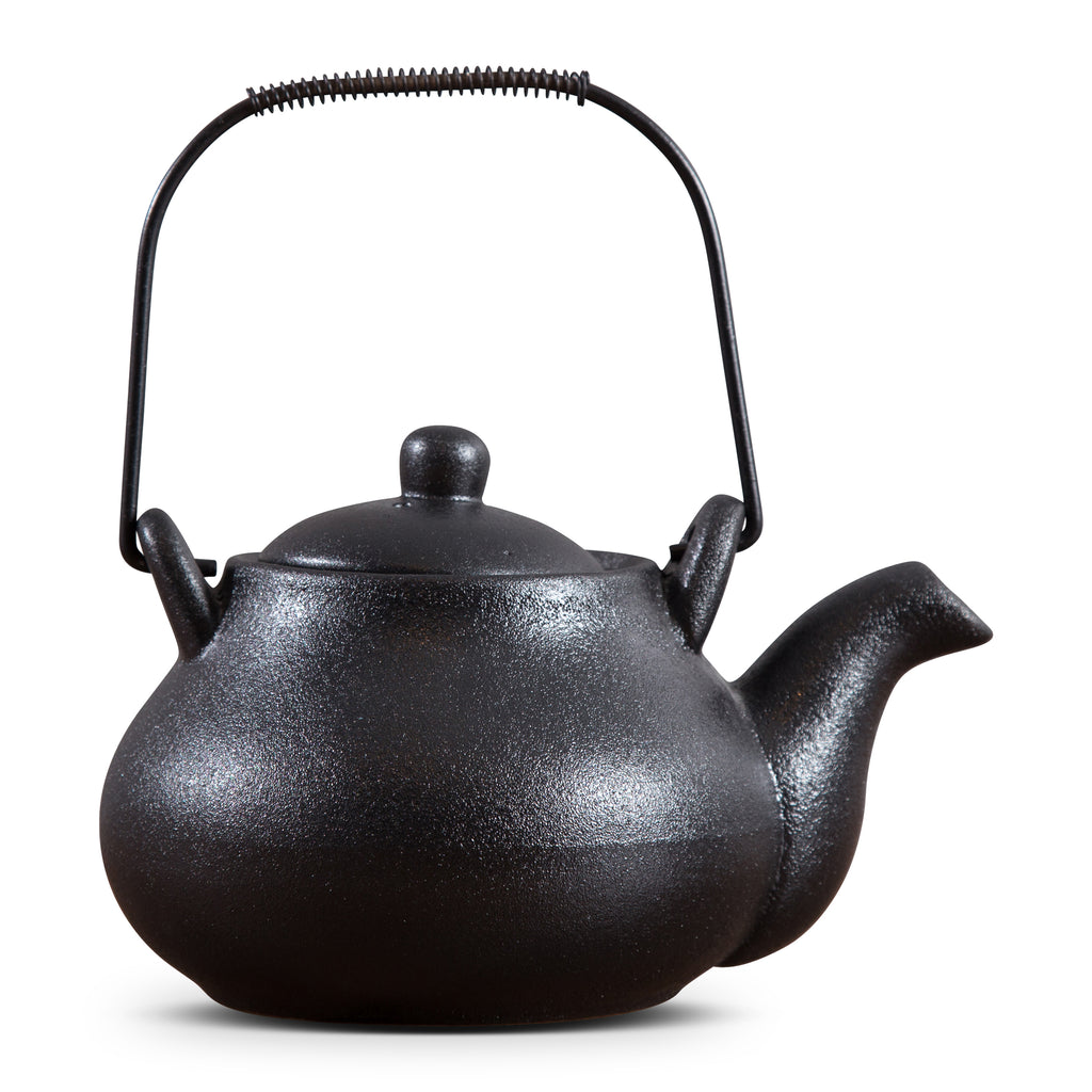TEA POT WITH IRON HANDLE - BLACK