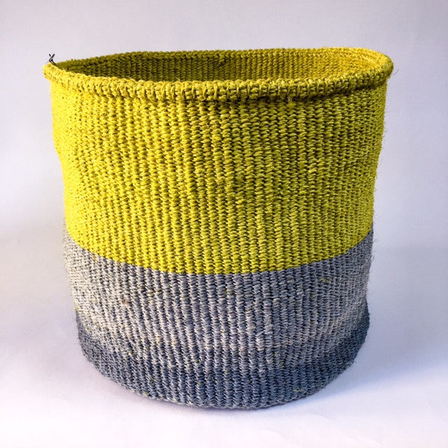 Far + Wide kenya block basket - yellow and grey