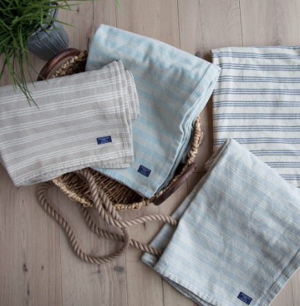 FARIBAULT cotton beacon stripe throw - beige