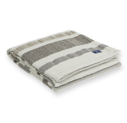 FARIBAULT cotton kerrick stripe throw - gray