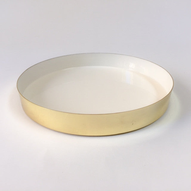 HAWKINS louise brass tray - small, white