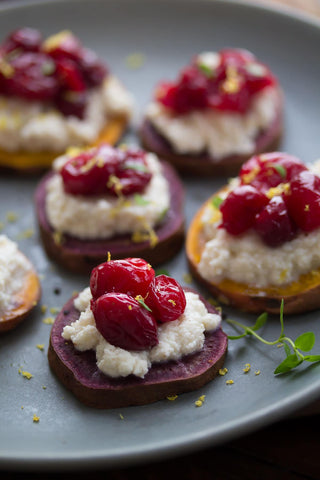 Sweet Potato Crostinis with Spiced Ricotta and Roasted Cranberries from Sweet Peas & Saffron