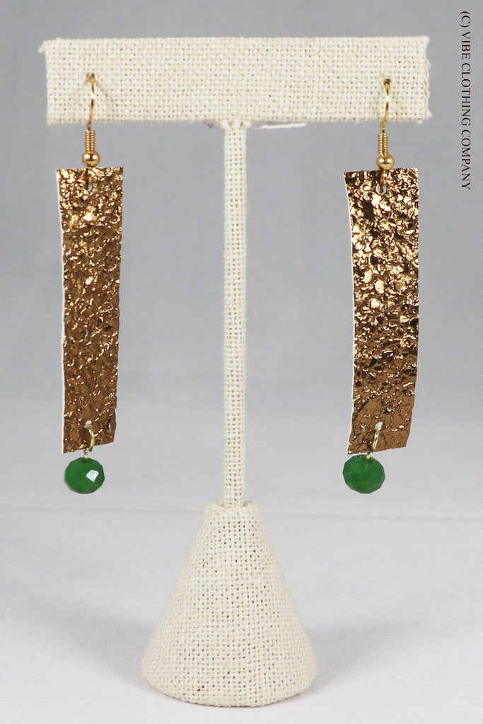 Beaded Bar Earrings - Gold Jewelry ViVi Liam Jewelry Gold / Green