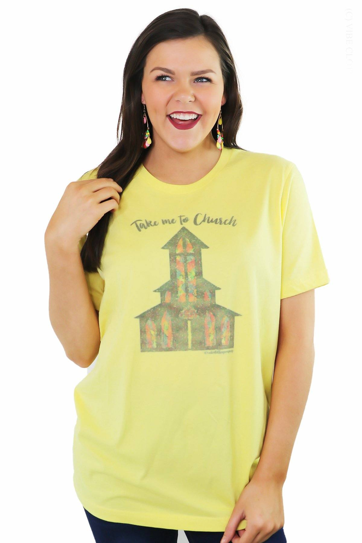 Take Me to Church Graphic Tee graphic tees Mark tee Small Yellow