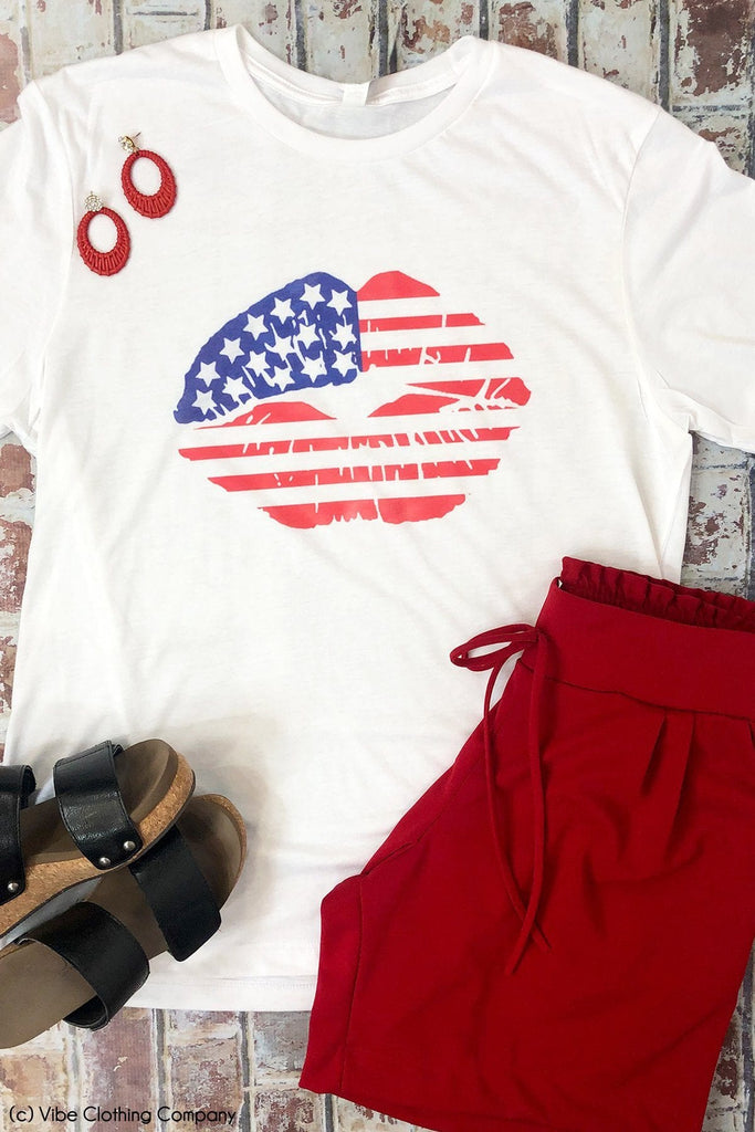 Patriotic Lips Graphic Tee graphic tees Mark tee