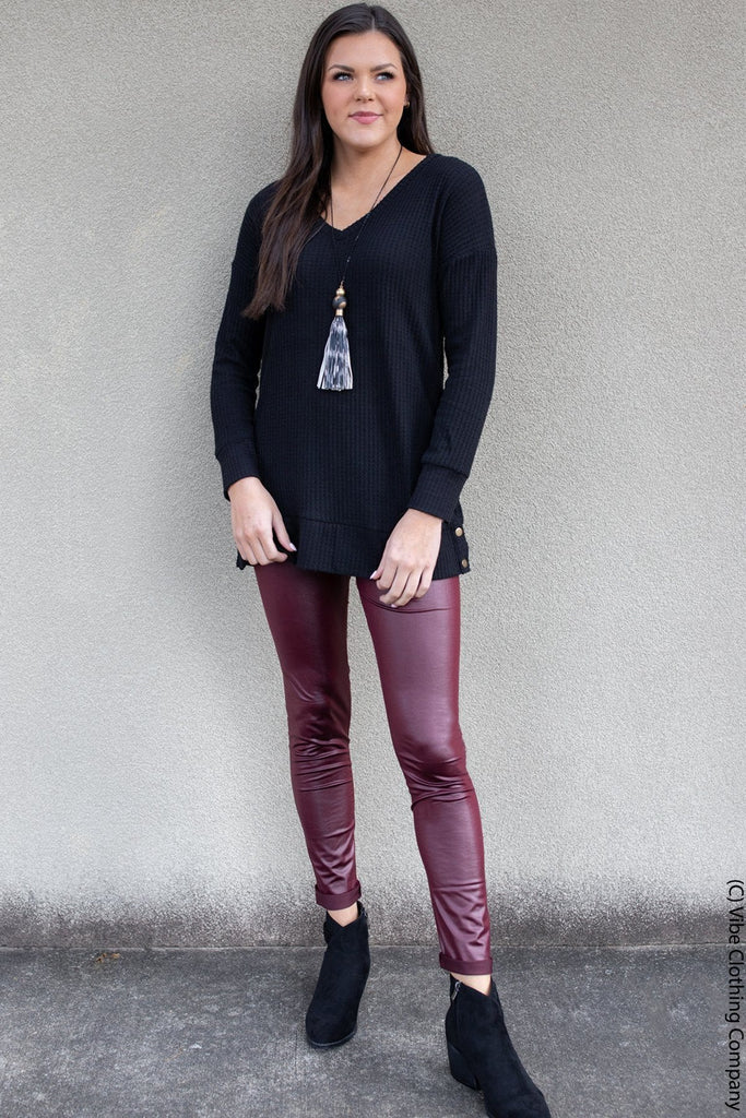 Pleather Leggings -Deep Burgundy