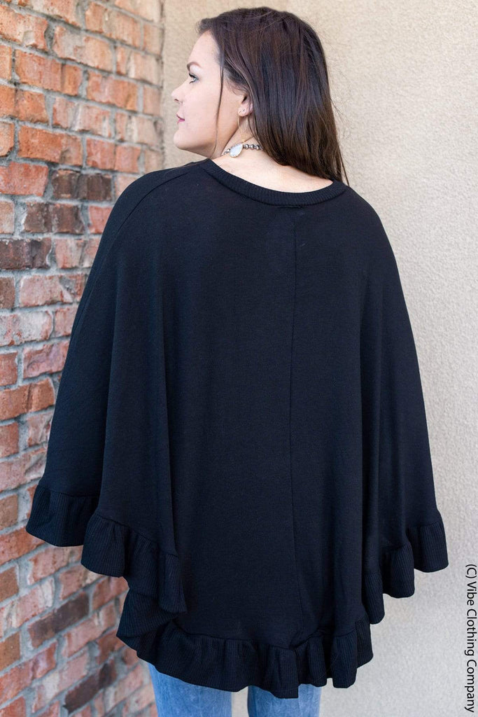 Power of Love Poncho - Black Tops sung light