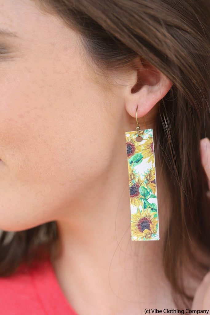 Sunflower Leatherette Earrings