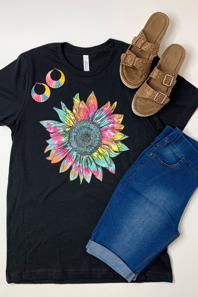 Tie Dye Sunflower Graphic Tee